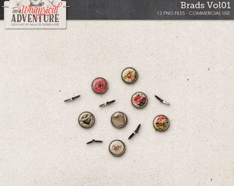 Brads, Romantic Roses, Commercial Use OK, Digital Scrapbooking Elements Instant Download, Vintage Flowers, Valentine's Day, Clips, Fasteners
