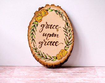 Wood Slice // Wood Burned Wall Art // Hand Painted Wood Slice // Wood Wall Art // Wood Burned Sign // Scripture Art // Bible Verse