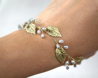 Leaf bracelet Rose gold leaf bracelet Silver leaf bracelet Gold bracelet Gold Leaf Jewelry Fall Leaf Jewelry Bridal bracelet Silver bracelet