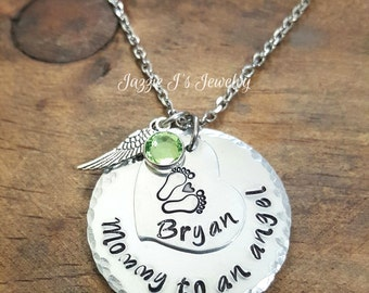 Mommy Of An Angel Necklace, Remembrance Necklace, Memorial Necklace, Infant Loss Necklace, Hand Stamped Memory Necklace, Gift for Her