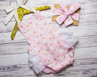 Baby Girl Unicorn Romper- unicorn Ruffle Romper, horse romper, unicorn birthday outfit, unicorn party outfit