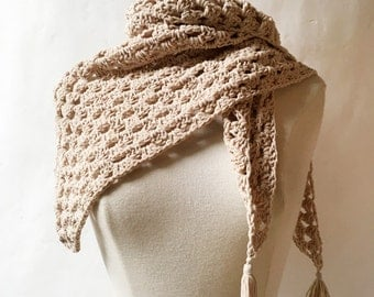 Ecru Crocheted Scarf - Hand Made Crocheted Scarf