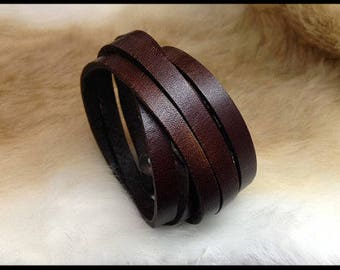Ladies brown leather wrap bracelet/cuff - Mens leather wrap bracelet - Boho bracelet - Handmade by A9 Design