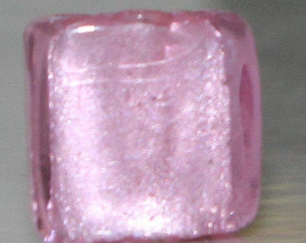 Set of (4) Pieces of 11mm Square Pink With Silver Foil Lampwork Glass Beads 2.0mm Holes