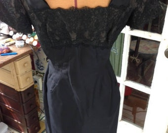 40's black rayon taffeta and lace wiggle dress
