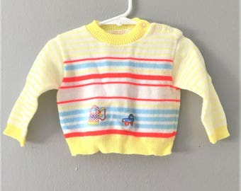 Vintage 1970's Boys Yellow Knit Sweater / Acrylic Knit Car Print Retro Baby Size 6 months