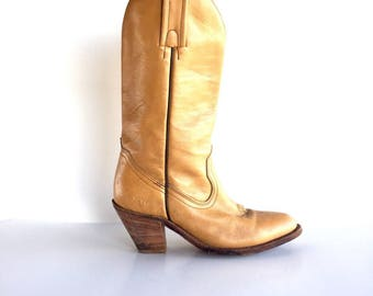 Size 7 | Vintage Frye Tan Leather Boots