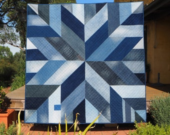 Blue Giant quilt pattern – star block modern quilt pattern made from recycled/upcycled blue denim jeans