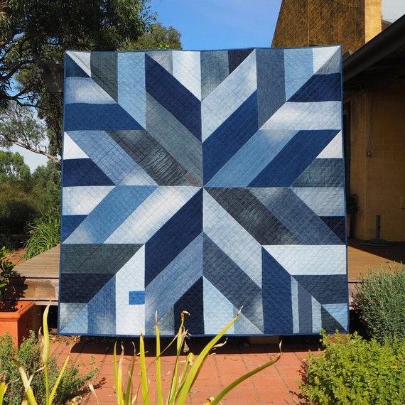 Blue giant quilt pattern star block modern quilt pattern for Modern house quilt block