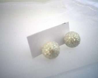 Snowball Earrings, Christmas Earrings, White Glittery Snowball, Surgical Steel Posts, Jewelry, Fashion, Accessories