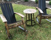 Wine Barrel Adirondack Rocking Chairs and 1 side table