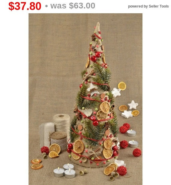 Sale christmas tree rustic christmas table decor by for Christmas table decorations sale
