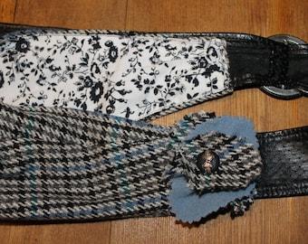 Blue-grey-black chex Cashmere bucket bag w/leather crossbody strap