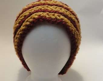 Handmade Scarlet and Gold Winter Beanie