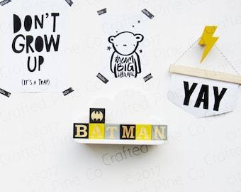 Batman wooden blocks - yellow black grey custom superhero blocks - boys room - modern nursery decor - super hero decor -handmade wood blocks