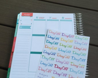 Watercolor Day Off Planner Stickers