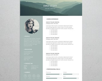 Creative Professional Resume for Template Photoshop and Illustrator, Adjustable colors, Mac or PC, A4, Instant Download