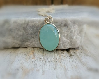 Aqua Chalcedony Sterling Silver Necklace, Gemstone Jewelry