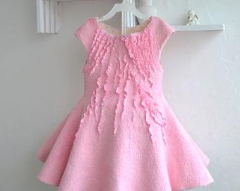 Nuno felted Dress Baby Girl Dress Merino wool and silk dress Princess Dress Nuno felt clothing Bridesmaid Dress Elegant Girl Dress