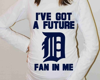 Detroit Tigers Shirt Detroit Tigers Baby Baseball Long Sleeve Maternity Shirt Pregnancy Baby Shower