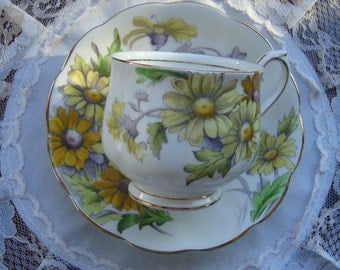 """Royal Albert Hand Painted Flower of the Month Series """"Daisy"""" - Bone China England - Vintage Tea Cup and Saucer"""
