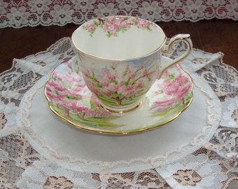 """Royal Albert Crown China """"Blossom Time"""" - Vintage Tea Cup and Saucer - Scenic - Trees with Pink Flowers"""