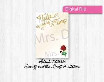 Beauty and the Beast Inspired Invitation - Blank Download - You edit yourself