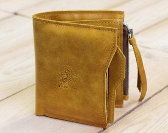 Tobacco yellow walle, Genuine leather wallet, Yellow wallet, Men leather wallet, Men's leather accessories, Men western wallet, Men's wallet