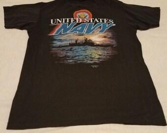 Vintage Navy Tshirt. Black.