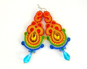 Statement rainbow  drop earrings Colorful earrings Bohemian statement jewelry Long soutache earrings, crystal earrings, gift for Christmas