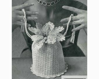 Vintage Crochet Pattern for Evening Bag 1950s Cylindrical Purse Pineapples Handbag PDF Instant Download SKU 72-4