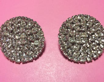 Vintage Rhinestone Button Earrings * 1970's Sparkling Circular Rhinestone Dots * Post Earrings *
