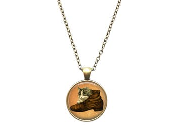Kitten in a shoe pendant Antique Animal jewelry Cat necklace