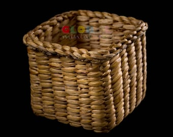 "4"" Handmade Vintage Square Weaving Lattice Wicker Baskets Stationery and Small Stuff Storage"