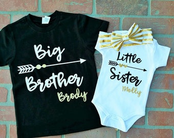 Personalized Big Brother/ Little Sister Shirt / Onesie set. Matching Big Brother Little Sister Set. Matching Sibling Set. Sibling Shirts