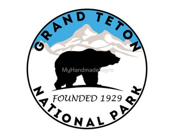 "GRAND TETON National Park Wyoming Bear Mountains Sticker Decal 3"" x 3"""