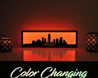Indianapolis Skyline, Indianapolis Art, Indianapolis Skyline Art, City Skyline, Light Up Sign, City Skyline Art, Skyline Wall Art