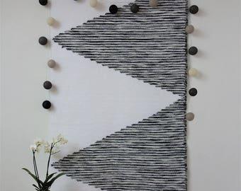 Geometric wall hanging, Woven wall hanging, Wall tapestry, Macrame wall hanging, Woven wall decor, White black tapestry, geometric patterns