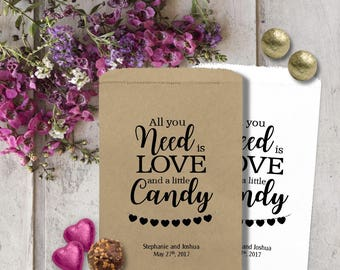 Wedding Candy Bags - Treat Bags -  Wedding Favors - Wedding Favors - Candy Bags - Need is Love CBP07TY0ia
