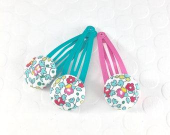 Floral hair clips, Liberty of London, Fabric Hair Clip, Pink flower hair clips, Button Hair Clips, Baby hair clips, girls hair clippie