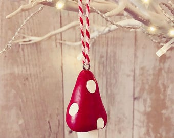Hand made hanging toadstools