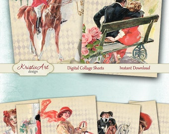 75% OFF SALE To My Valentine - Digital Collage Sheet Digital Cards C203 Printable Valentine's Day Image Digital Atc Card ACEO Love Cards