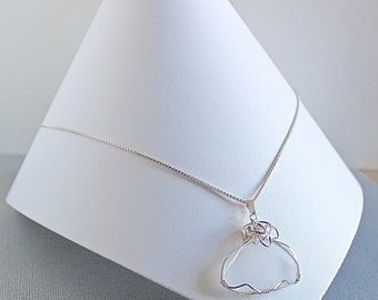 White ocean glass necklace - sea glass necklace - seaglass pendant - sea glass silver necklace - holiday gift for her - bridal necklace