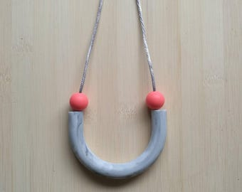 Silicone tube necklace - Holly in Watermelon & Marble