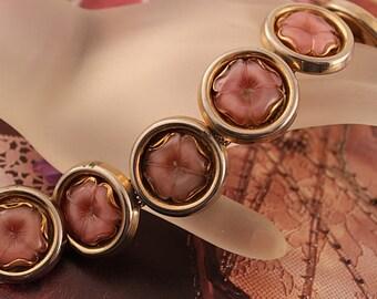 Vintage Pink Lucite Flower Mesh Bracelet, Signed PIK NY