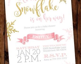 Little Snowflake Baby Shower Invitation, Snowflake Baby Shower Invitation, Winter Baby Shower Invitation #002