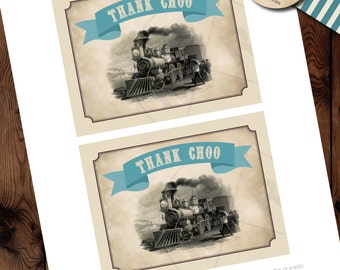 Train Baby Shower Thank You Notes, All Aboard Thank You Notes, Train Baby Shower Printables