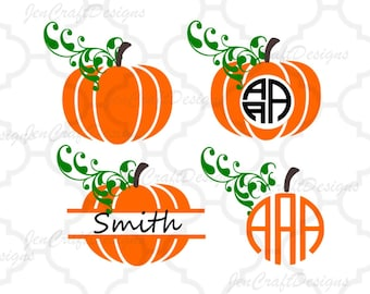 Fall Pumpkins SVG, DXF, EPS,Png circle monogram cutting files. for Silhouette Studio and Cricut Design Space.