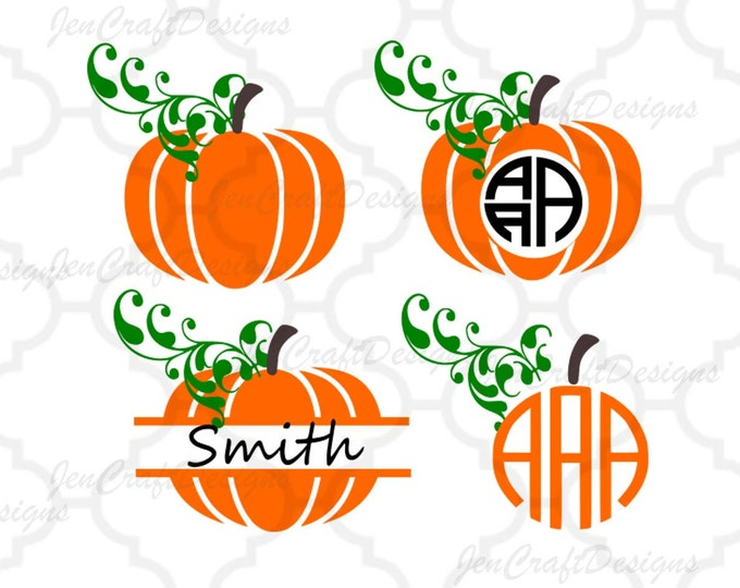 Featured listing image: Fall Pumpkins SVG, DXF, EPS,Png circle monogram cutting files. for Silhouette Studio and Cricut Design Space.