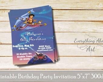 Aladdin invitation, Aladdin birthday invitation, Aladdin birthday party, Aladdin genie, Oil lamp invitation, Aladdin theme party, custom
